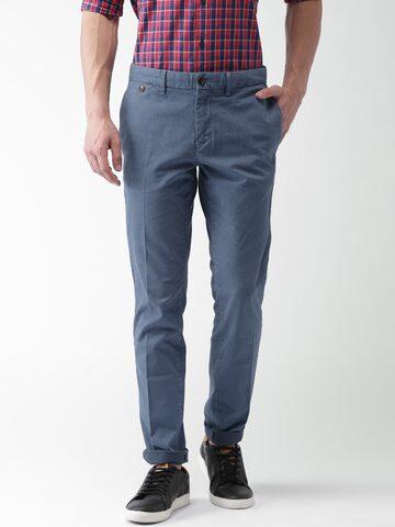 Tommy Hilfiger Men Blue Smart Straight Fit Self-Design Trousers Tommy Hilfiger Trousers at myntra