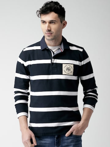 Tommy Hilfiger Men Navy & White Striped Sweatshirt Tommy Hilfiger Sweatshirts at myntra