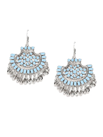 Zaveri Pearls Blue Oxidised Silver-Plated Drop Earrings Zaveri Pearls Earrings at myntra