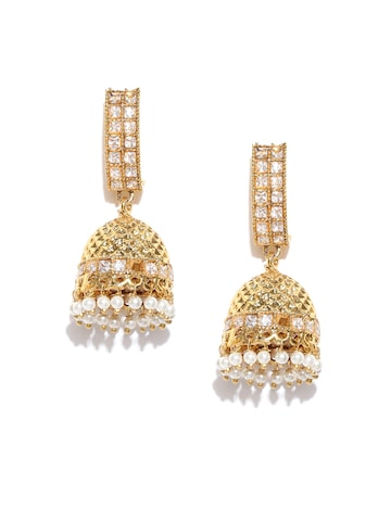 Zaveri Pearls Gold-Plated Stone-Studded Jhumkas Zaveri Pearls Earrings at myntra