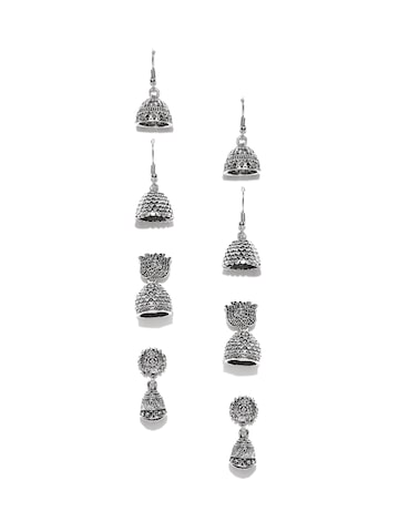 Zaveri Pearls Set of 4 Oxidised Silver-Plated Dome-Shaped Jhumkas Zaveri Pearls Earrings at myntra