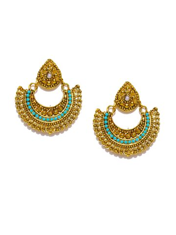 Zaveri Pearls Antique Gold-Plated Beaded Chandbalis Zaveri Pearls Earrings at myntra
