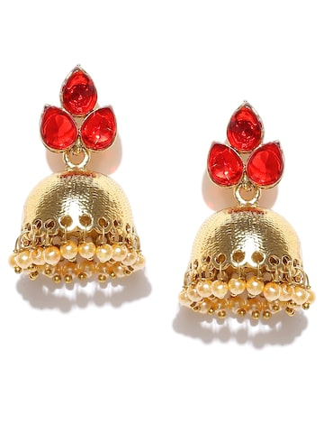 Zaveri Pearls Gold-Toned & Red Dome Shaped Jhumkas Zaveri Pearls Earrings at myntra
