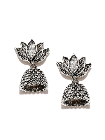 Zaveri Pearls Oxidised Silver-Plated Jhumkas Zaveri Pearls Earrings at myntra