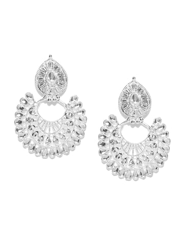 Zaveri Pearls Silver-Plated Stone-Studded Chandbalis Zaveri Pearls Earrings at myntra