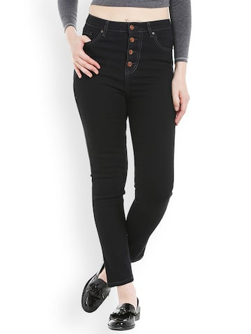 TARAMA Women Black Skinny Fit Mid-Rise Clean Look Stretchable Jeans TARAMA Jeans at myntra