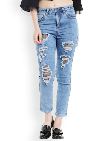 TARAMA Women Blue Skinny Fit Mid-Rise Highly Distressed Stretchable Jeans TARAMA Jeans at myntra