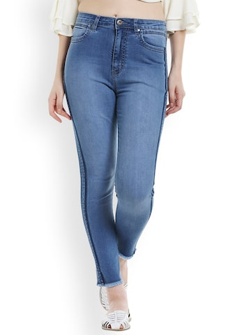 TARAMA Women Blue Skinny Fit Mid-Rise Clean Look Stretchable Jeans TARAMA Jeans at myntra