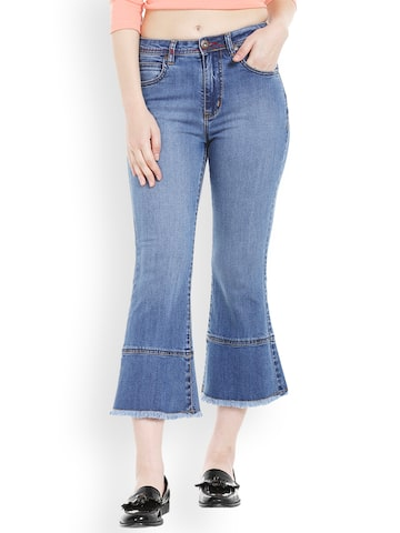 TARAMA Women Blue Flared Mid-Rise Clean Look Stretchable Jeans TARAMA Jeans at myntra