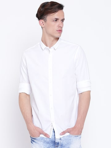 United Colors of Benetton Men White Slim Fit Solid Casual Shirt United Colors of Benetton Shirts at myntra