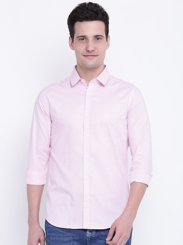 United Colors of Benetton Men Pink Slim Fit Self-Design Casual Shirt United Colors of Benetton Shirts at myntra