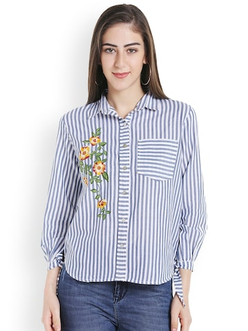 TARAMA Women Blue & Off-White Regular Fit Striped Casual Shirt TARAMA Shirts at myntra