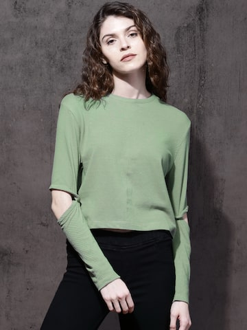 Roadster Women Green Solid Top Roadster Tops at myntra