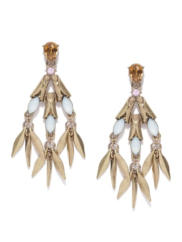 ToniQ Antique Gold-Toned & Off-White Stone-Studded Drop Earrings ToniQ Earrings at myntra