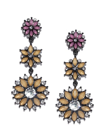 ToniQ Beige & Pink Stone Studded Drop Earrings ToniQ Earrings at myntra