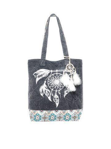 The House of Tara Grey Printed Tote Bag The House of Tara Handbags at myntra