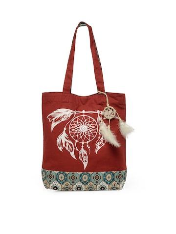 The House of Tara Red Printed Tote Bag The House of Tara Handbags at myntra