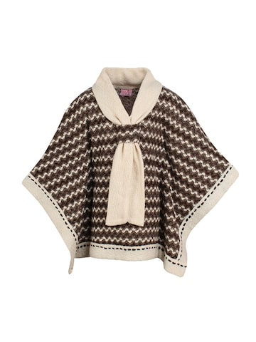 CUTECUMBER Girls Brown Self Design Poncho CUTECUMBER Sweaters at myntra