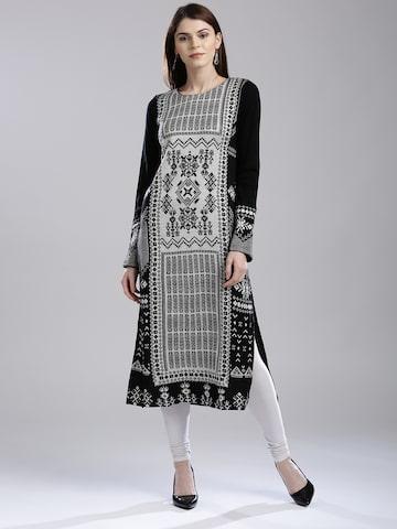 W Women Black & White Woven Design Straight Kurta W Kurtas at myntra