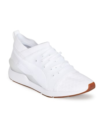 Puma Women White Textured Mid-Top Pearl DE Sneakers Puma Casual Shoes at myntra