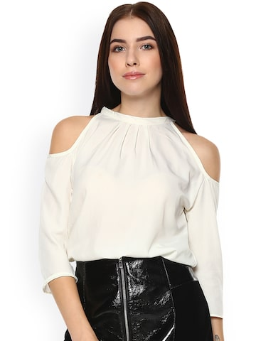 Hapuka Women Off-White Solid Top Hapuka Tops at myntra
