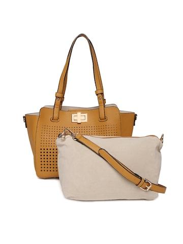 Elle Brown Solid Shoulder Bag Elle Handbags at myntra