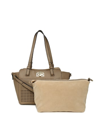 Elle Khaki Solid Shoulder Bag Elle Handbags at myntra