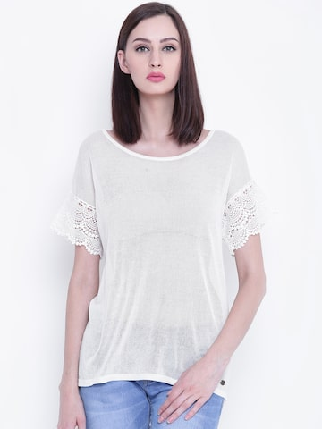 U.S. Polo Assn. Women Off-White Solid Sheer Boxy Top U.S. Polo Assn. Women Tops at myntra
