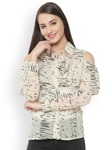 The Gud Look Women Beige Comfort Regular Fit Printed Casual Shirt The Gud Look Shirts at myntra