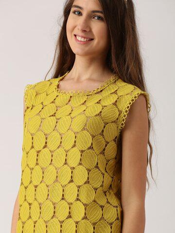DressBerry Women Mustard Yellow Self Design Top DressBerry Tops at myntra