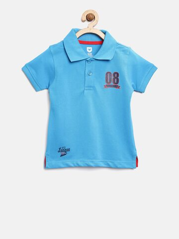 612 league Boys Blue Solid Polo Collar T-shirt 612 league Tshirts at myntra