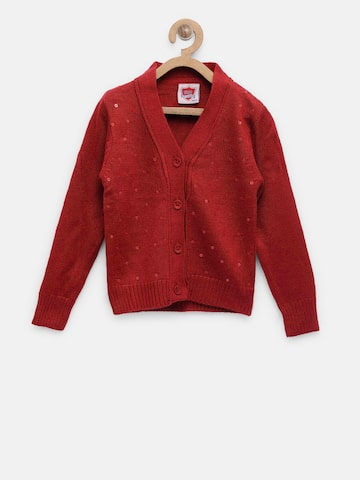 612 Ivy League Girls Red Sequinned Cardigan 612 Ivy League Sweaters at myntra