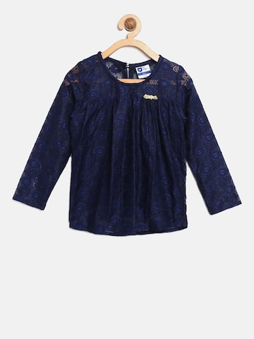 612 league Girls Navy Blue Lace A-Line Top 612 league Tops at myntra
