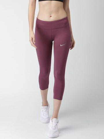 Nike Women Burgundy Solid AS W NK PWR EPIC RUN Capris Nike Capris at myntra