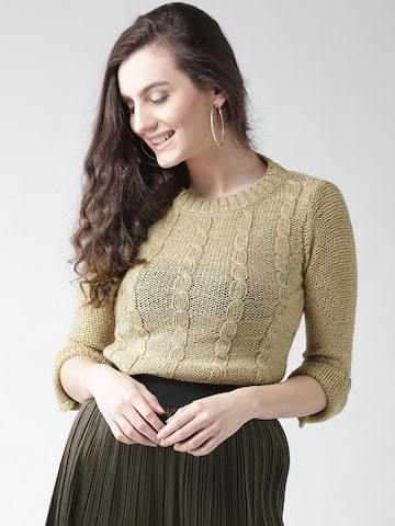 Species Women Beige Cable Knit Sweater Species Sweaters at myntra