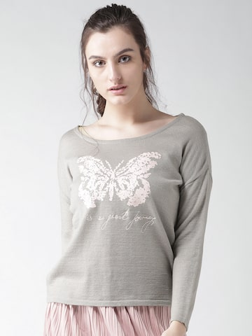 Species Women Grey Printed Sweater Species Sweaters at myntra