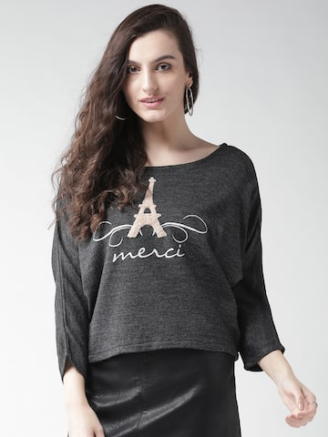 Species Women Charcoal Grey Self-Design Sweater Species Sweaters at myntra