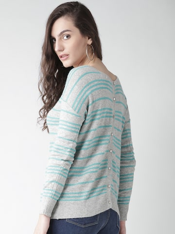 Species Women Grey Melange & Green Striped Sweater Species Sweaters at myntra