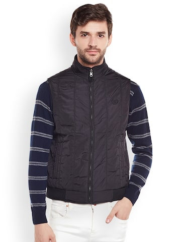 Duke Men Black Solid Bomber Jacket Duke Jackets at myntra