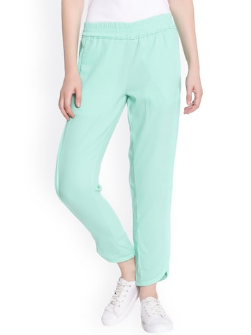 United Colors of Benetton Women Sea Green Smart Regular Fit Solid Regular Trousers United Colors of Benetton Trousers at myntra