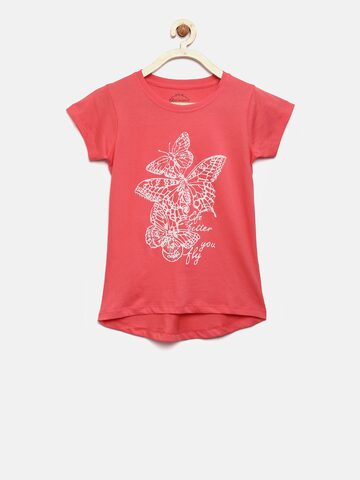 Lee Cooper Girls Coral Pink Printed Round Neck T-shirt Lee Cooper Tshirts at myntra