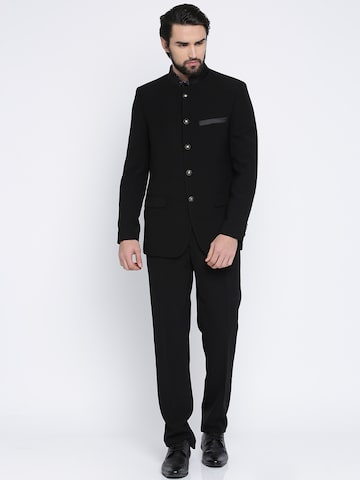 Raymond Black Button Placket Contemporary Fit Ethnic Suit Raymond Suits at myntra
