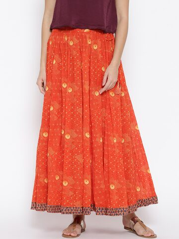 Ritu Kumar Orange Printed Maxi Skirt Ritu Kumar Skirts at myntra