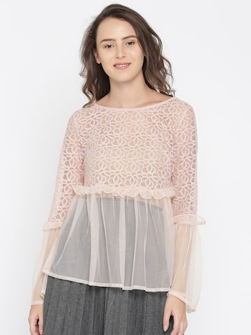 DressBerry Women Pink Self Design A-Line Top DressBerry Tops at myntra