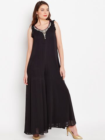 Wills Lifestyle Black Solid Basic Jumpsuit Wills Lifestyle Jumpsuit at myntra