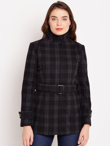 Wills Lifestyle Black & Grey Checked Belted Coat Wills Lifestyle Coats at myntra