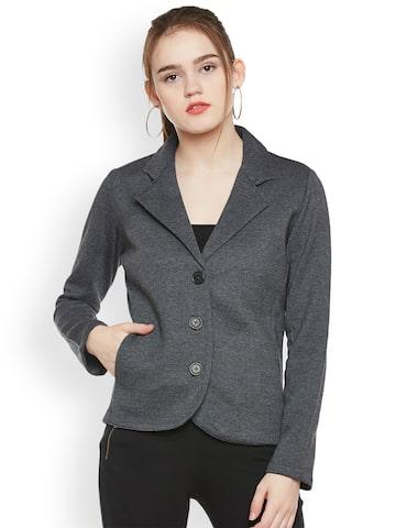 The Vanca Women Grey Solid Open Front Jacket The Vanca Jackets at myntra