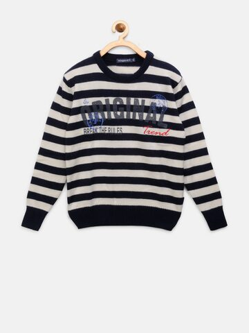 Wingsfield Boys Off-White & Navy Blue Striped Sweater Wingsfield Sweaters at myntra