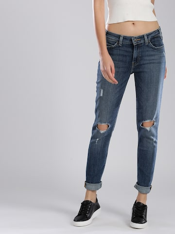 Levis Women Blue Skinny Fit Mid-Rise Slash Knee Stretchable Jeans Levis Jeans at myntra