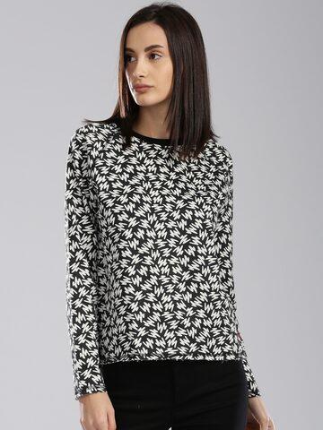 Levis Women Black & White Printed Sweatshirt Levis Sweatshirts at myntra